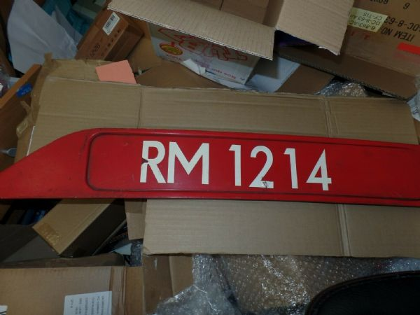 AEC Routemaster RM1214 Bonnet Fleet Number Plate White Figures on Red - 264408552119